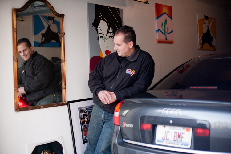"John Cappas, owner of Johnny's Wee Nee Wagon, poses for a photograph inside his garage on Wednesday, November 14, 2012.  Cappas, a former cocaine dealer, was released from serving 15 years in prison in 2004 and has since released a book titled ""Tall Money,"" the story behind his life."