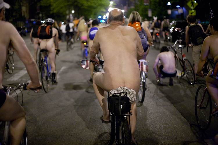 The World Naked Bike Ride rolls through the streets of Chicago on June 8th, 2013.