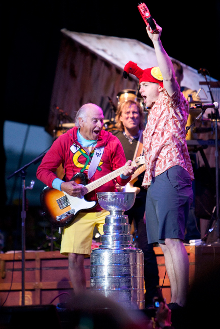 Chicago Blackhawks forward Patrick Kane (88) cheers during the Jimmy Buffett concert along with the Stanley Cup at the First Merit Bank Pavilion at Northerly Island in Chicago on Saturday, June 29, 2013.  | Michael Jarecki ~ For Sun-Times Media