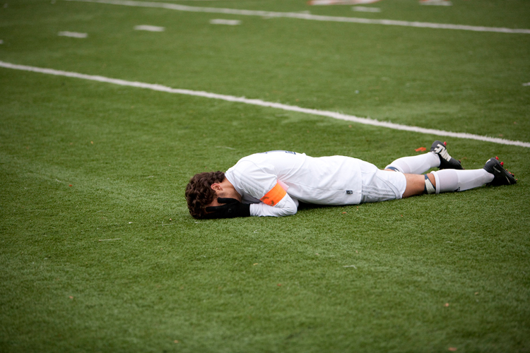 Evanston senior Cobi Ortega (10) reacts after his team was defeated 2-1 by Wheeling in the Class 3A sectional final at Evanston Township High School on Saturday, November 2, 2013.  Wheeling defeated Evanston 2-1.  | Michael Jarecki/For Sun-Times Media