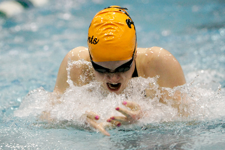 St. Charles East senior Shea Hoyt competes in the 100 Yard Breaststroke event during the IHSA State Swimming Preliminary Finals at New Trier High School on Friday, November 22, 2013. | Michael Jarecki/For Sun-Times Media