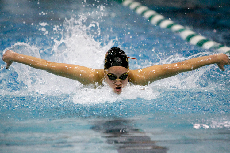 Loyola Academy junior Maria Jardeleza competes in the 100 Yard Butterfly event during the during IHSA State Swimming Finals at New Trier High School on Saturday, November 23, 2013. | Michael Jarecki/For Sun-Times Media