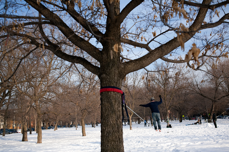 photoblog-freelance-photographer-michaeljarecki-photojournalist-chicago-people-street-walker-graphic-composition-trees-chicago-slackliners-association-logan-square